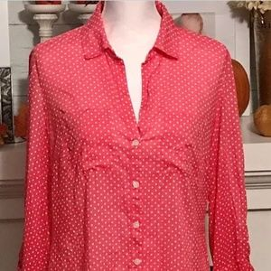 LOFT Polka Dot Button Down Blouse